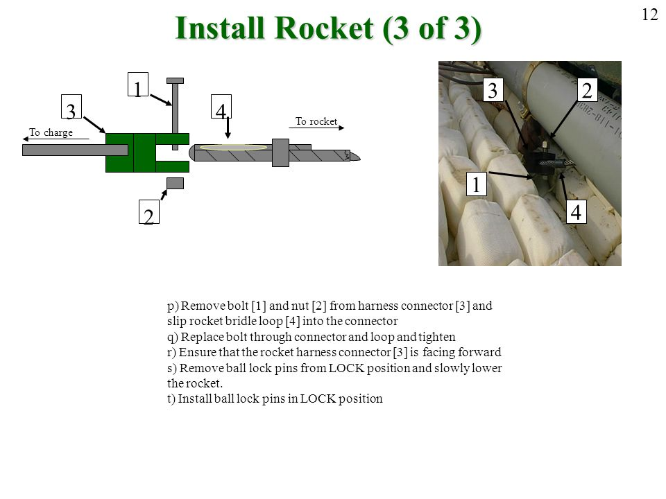 Install Rocket (3 of 3) 12. 4. 3. 1. 2. To rocket. To charge. 3. 4. 2. 1. p) Remove bolt [1] and nut [2] from harness connector [3] and.